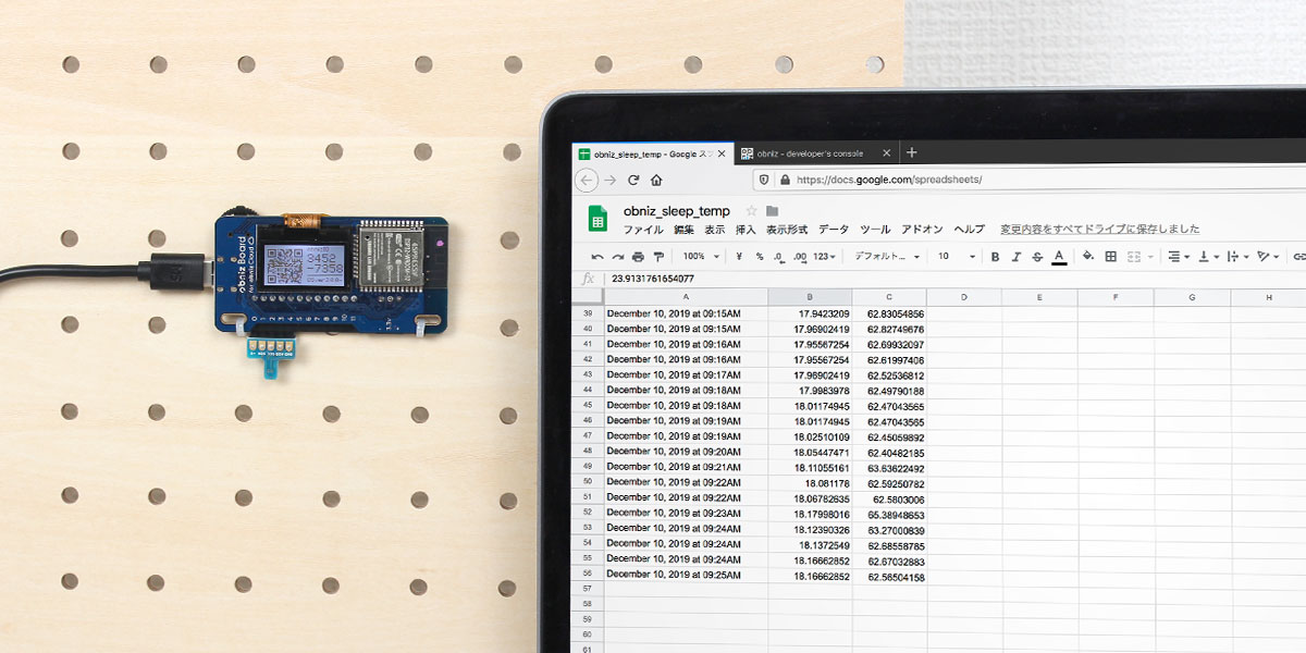 Power-saving temperature logger using obniz board 1Y