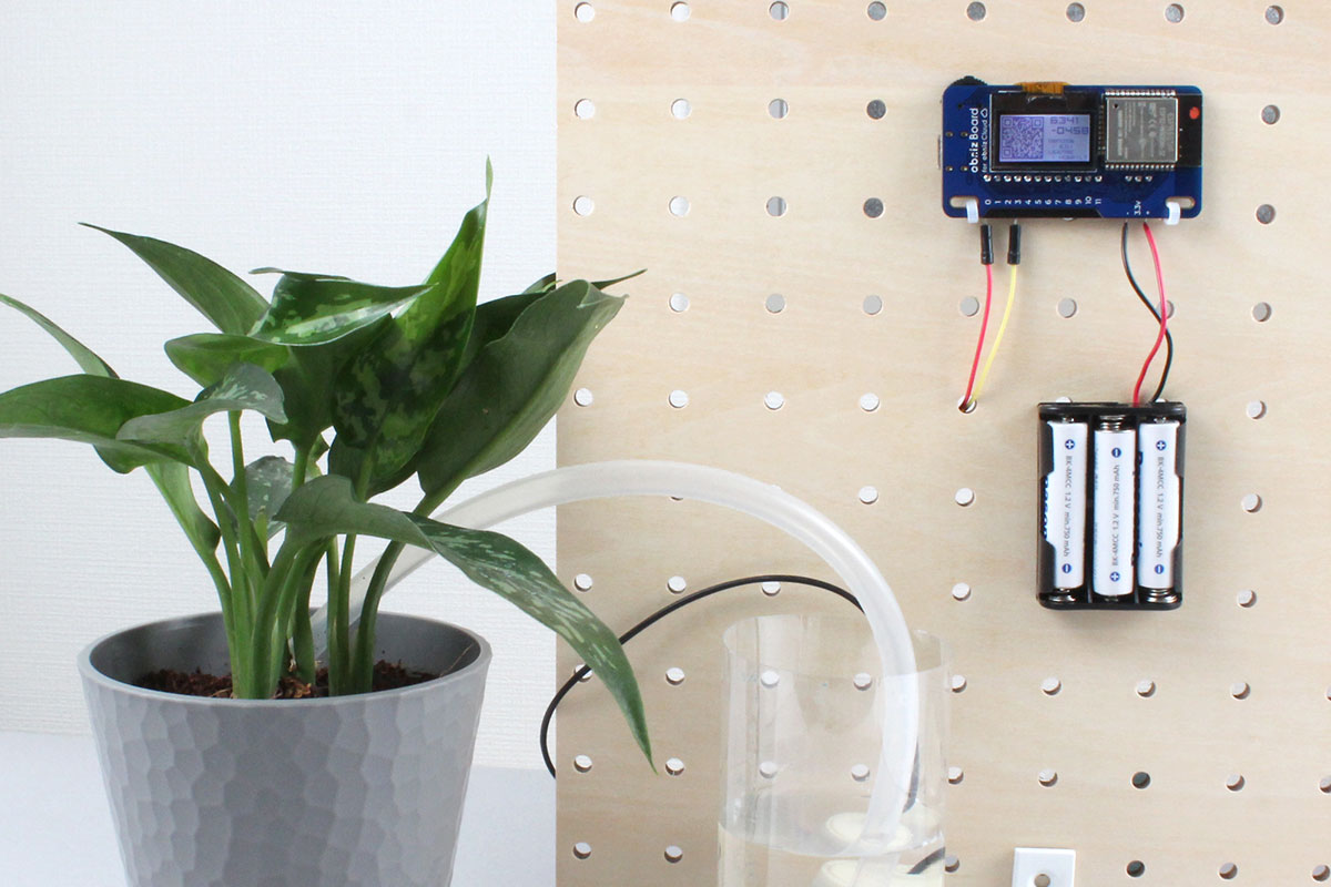 Power-saving watering device using sleep function of obniz Board 1Y