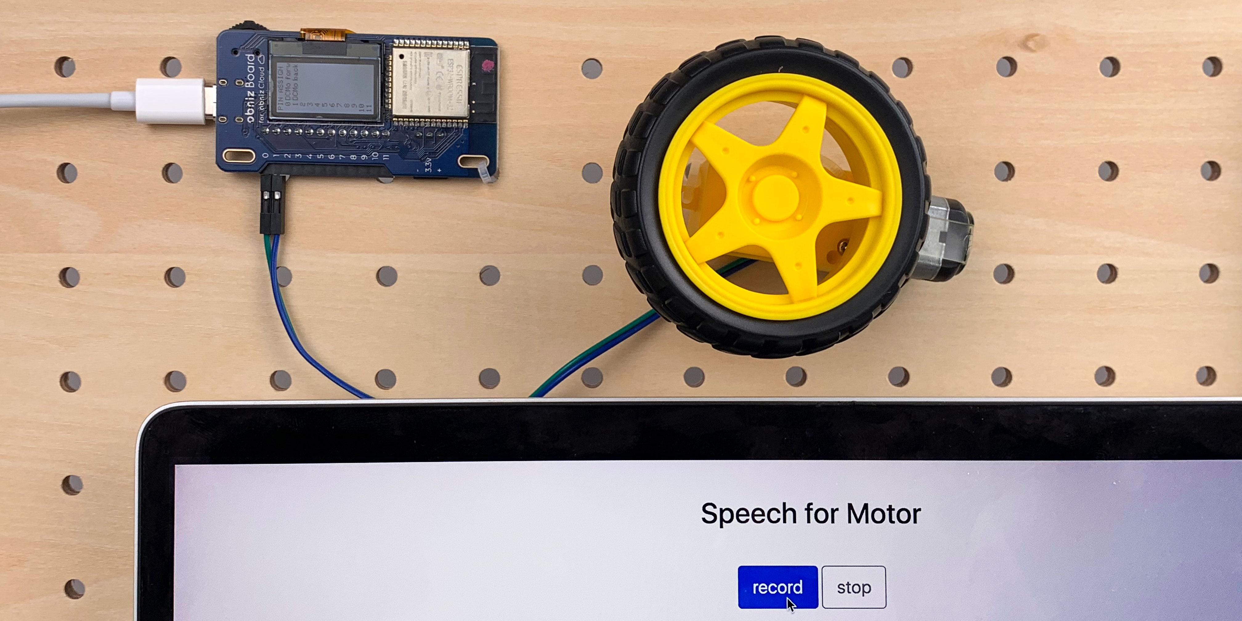 DC motor driven by voice recognition
