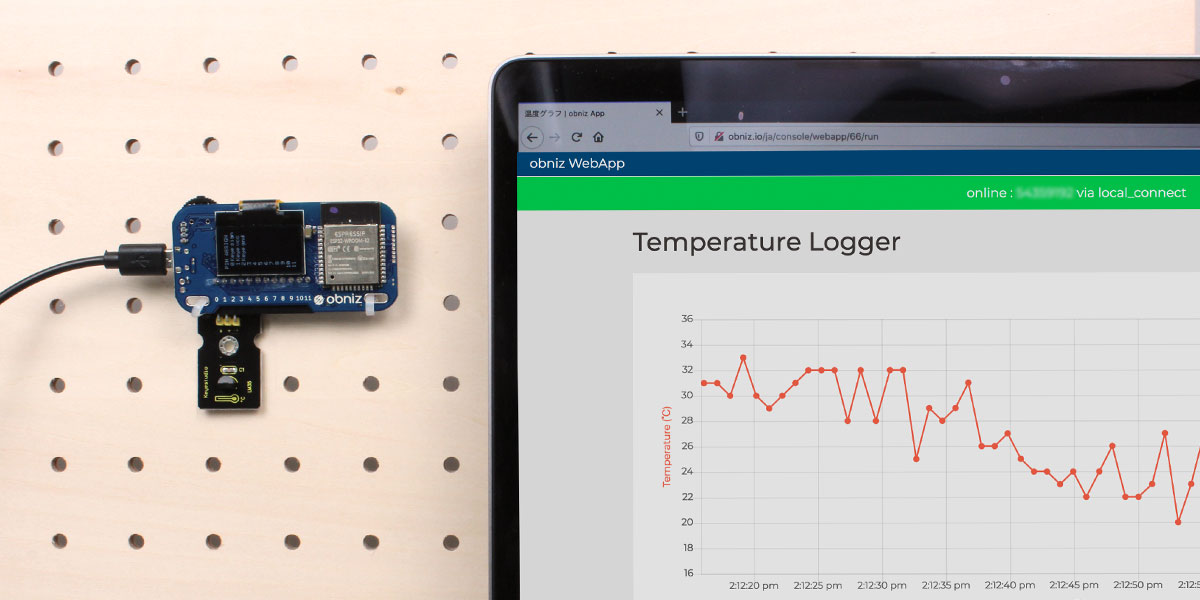 Real-time temperature logger using Web App.