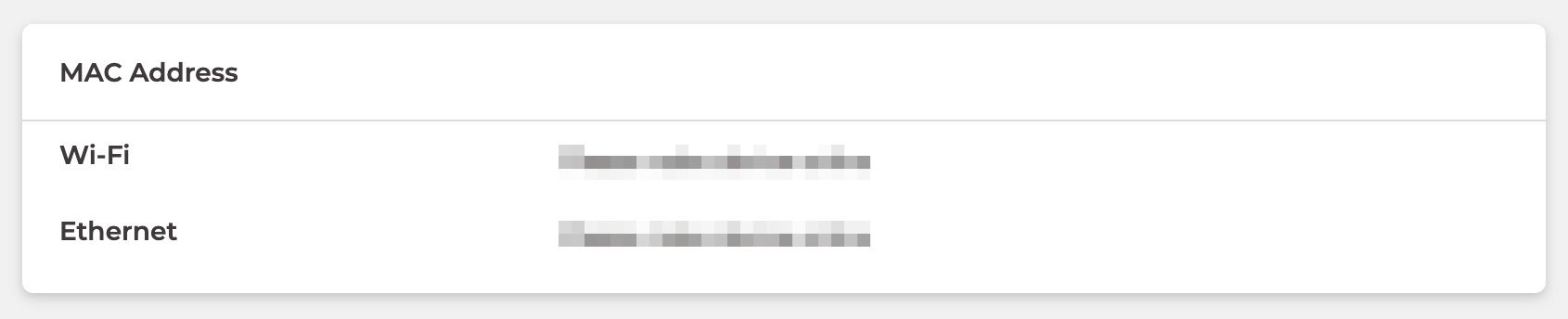 MACアドレスの表示